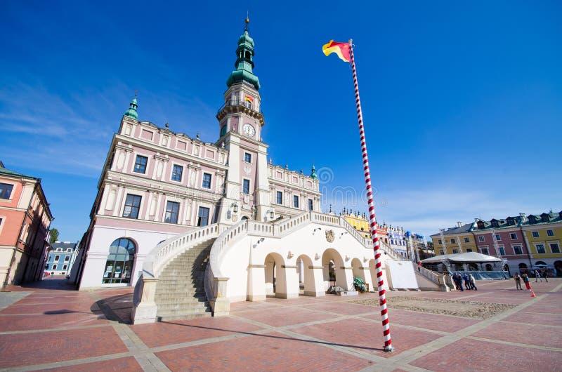 Zamosc -波兰的镇中心 免版税库存照片