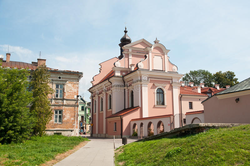 Zamosc. Old church in the Zamosc on the old town royalty free stock photo