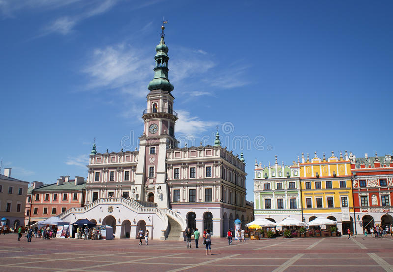 Zamosc, Poland, town-hall stock photos