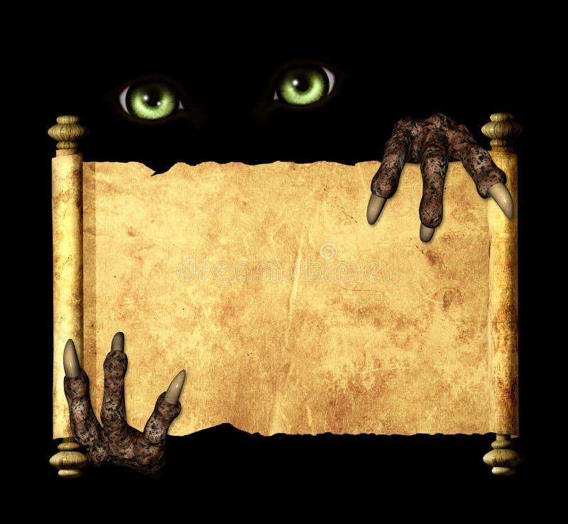 Zampe di un mostro che tiene un rotolo d'annata fotografie stock libere da diritti