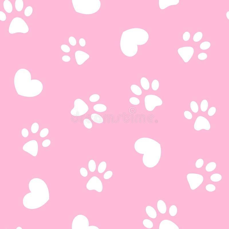 Zampe e cuori bianchi sul modello senza cuciture rosa illustrazione di stock