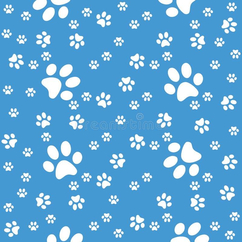 Zampe fondo, modello blu delle zampe senza cuciture illustrazione di stock