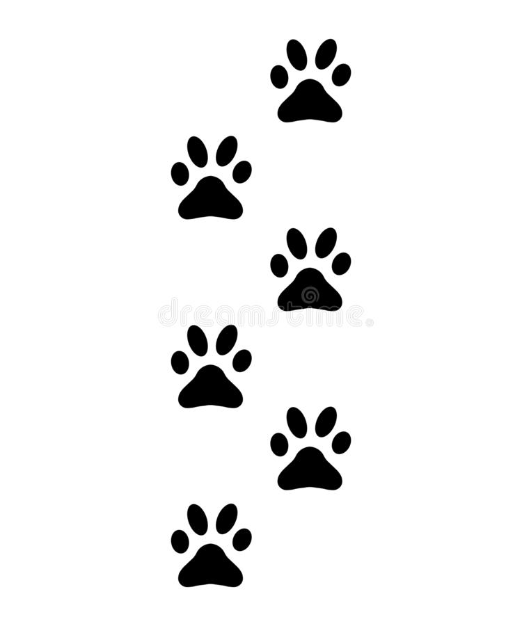 Zampe, orme, tracce della siluetta del gatto, segno del cane illustrazione di stock