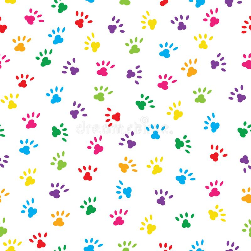 Zampe sveglie dei gatti nei colori dell'arcobaleno Fondo senza cuciture del modello illustrazione vettoriale