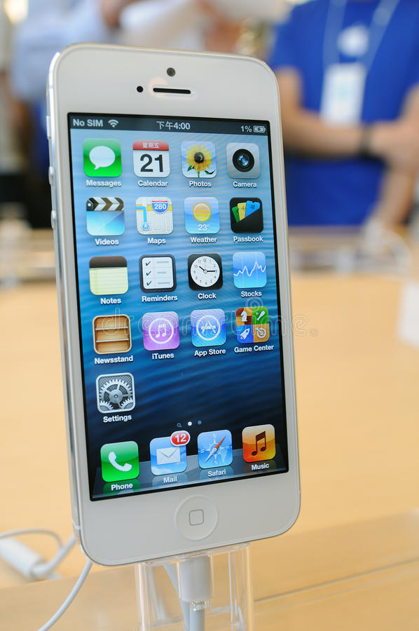 Zamyka iphone biały iPhone 5 zdjęcia royalty free