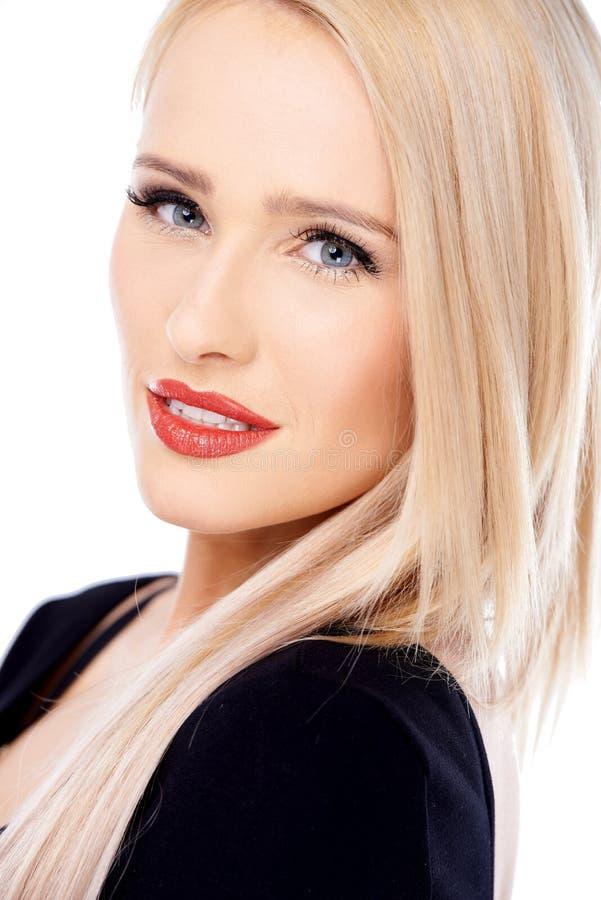 Zamyka up śliczna blond seksowna kobieta fotografia royalty free