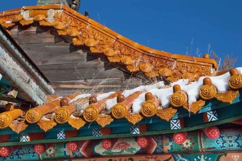 Zamyka Up świątynia dach z Ceramicznymi medalionami zdjęcia stock