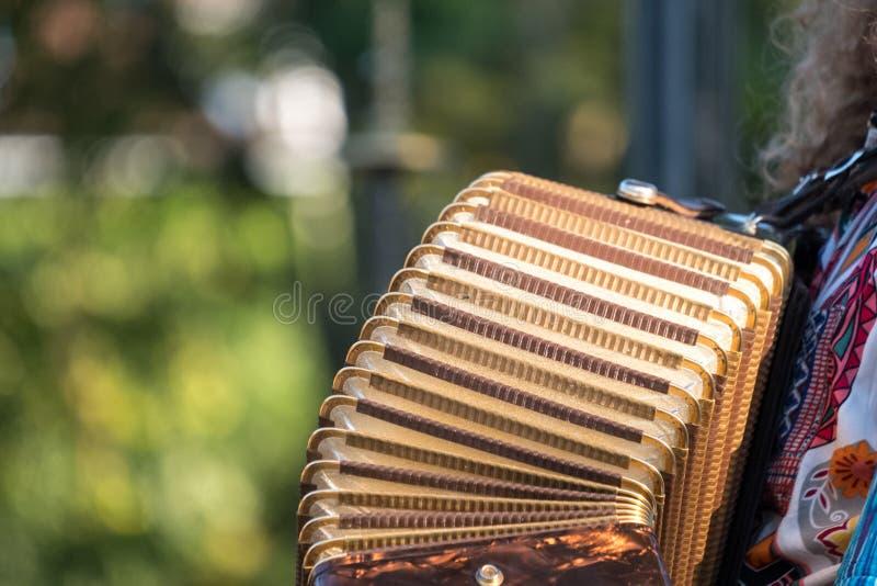 Zamyka up akordeon i akordeonu gracz bawić się przy Klezmer koncertem Żydowska muzyka w Regent ` s parku w Londyn fotografia royalty free