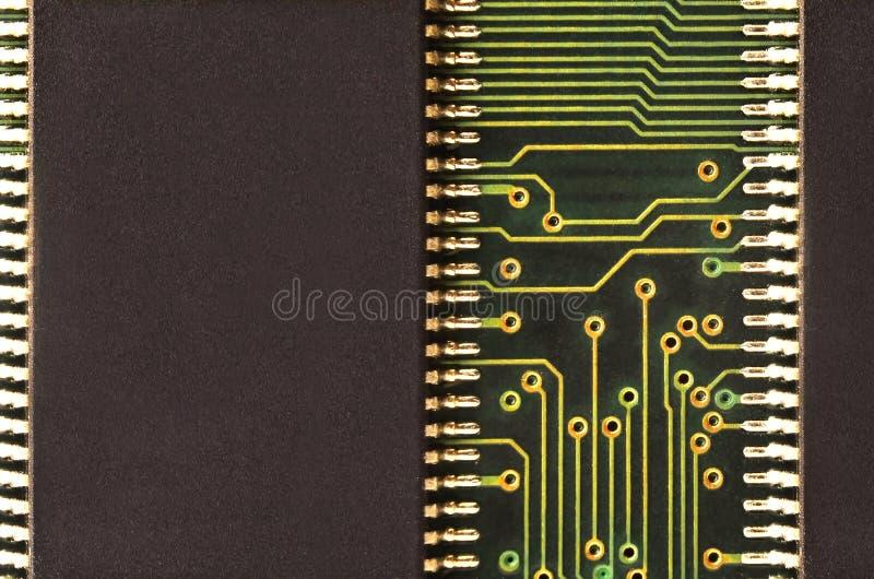 Zamyka up barwiona mikro obwód deska tło abstrakcyjna technologii Komputerowy mechanizm w szczególe obrazy stock