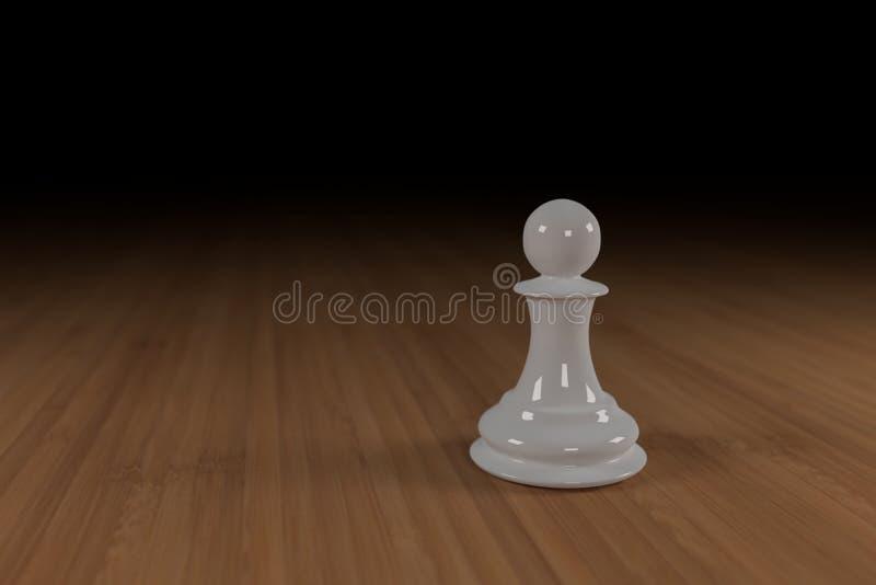Zamyka up biel, szkło, szachowy pionek na drewnianej powierzchni zdjęcie stock