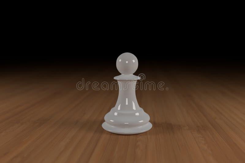 Zamyka up biel, szkło, szachowy pionek na drewnianej powierzchni zdjęcia stock