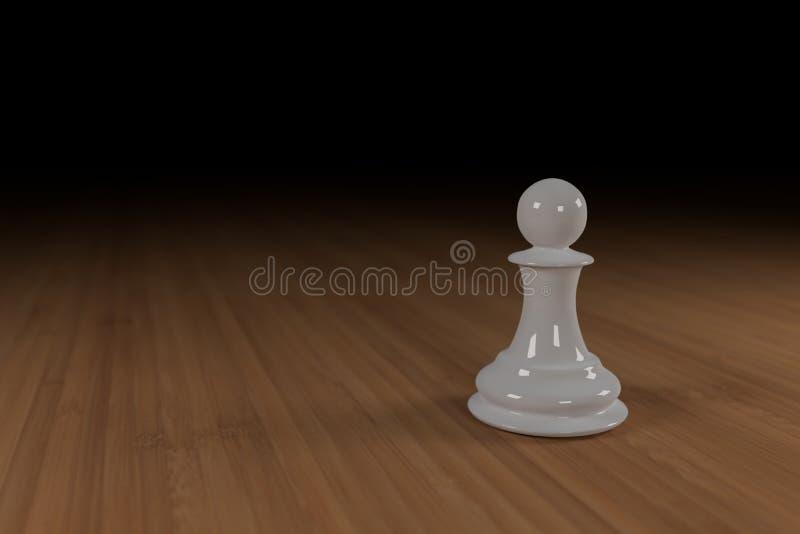 Zamyka up biel, szkło, szachowy pionek na drewnianej powierzchni obraz royalty free