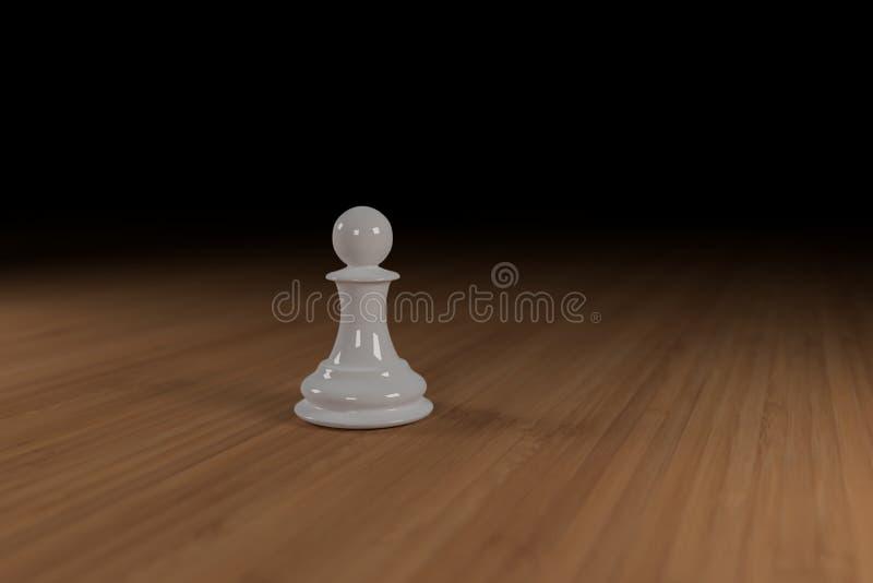 Zamyka up biel, szkło, szachowy pionek na drewnianej powierzchni zdjęcie royalty free