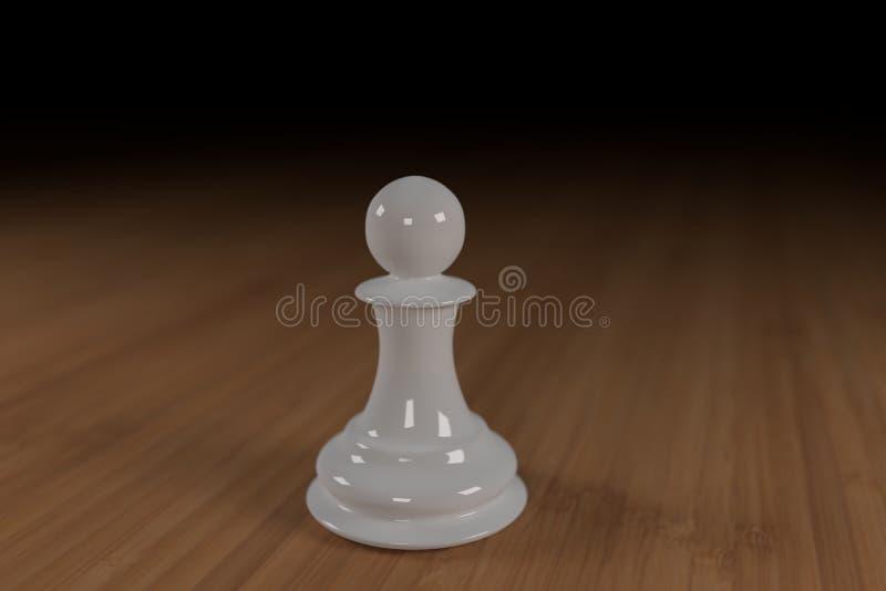 Zamyka up biel, szkło, szachowy pionek na drewnianej powierzchni zdjęcia royalty free