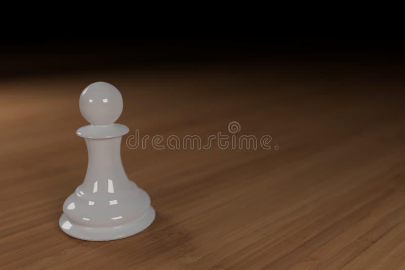 Zamyka up biel, szkło, szachowy pionek na drewnianej powierzchni obrazy stock