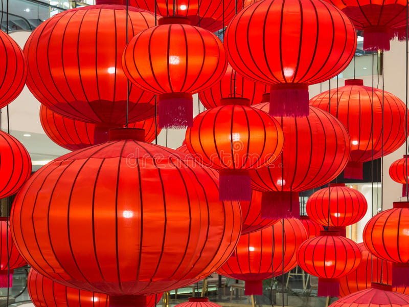 Zamyka up Chińska czerwona papierowego lampionu dekoracja fotografia stock