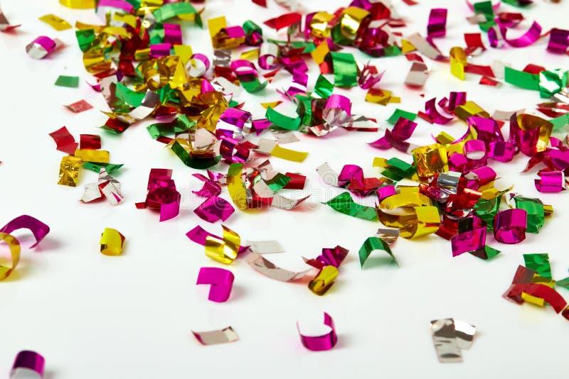 Zamyka up confetti na białym tle zdjęcia royalty free