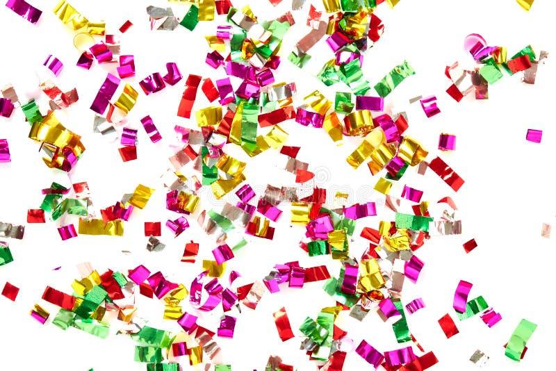 Zamyka up confetti na białym tle obrazy royalty free