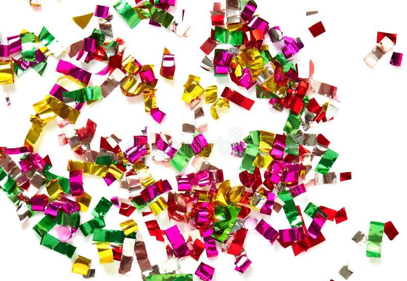 Zamyka up confetti na białym tle fotografia stock