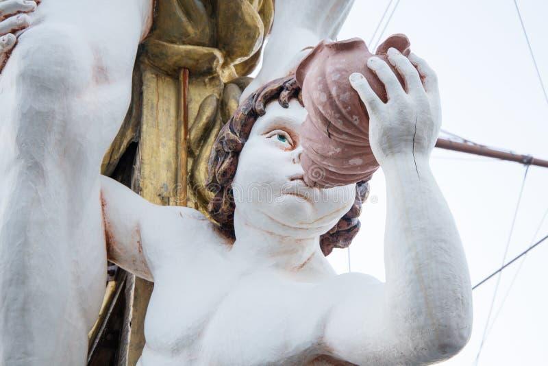 Zamyka up figurant na pirata statku w genui, Włochy zdjęcie royalty free