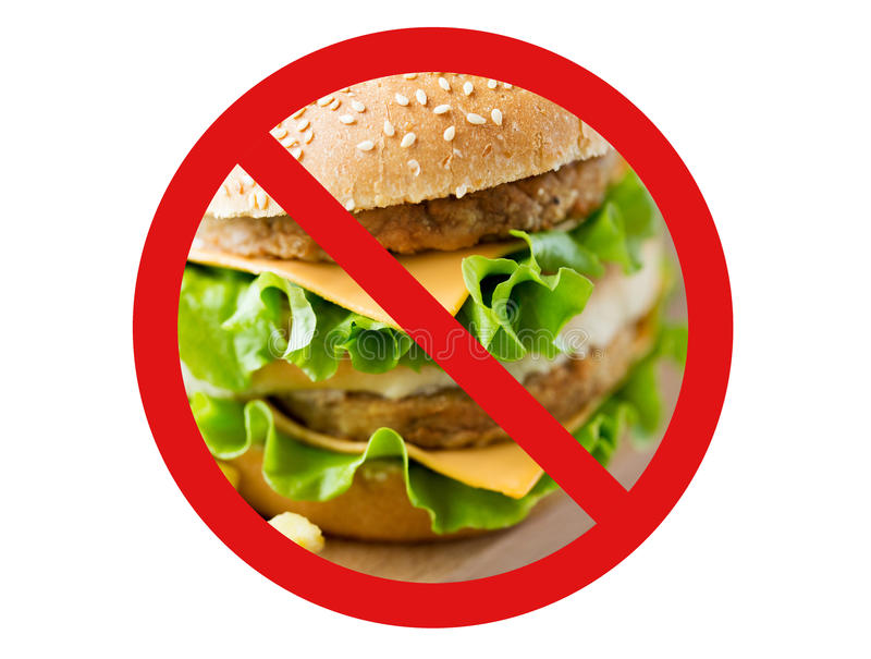 Zamyka up hamburger za żadny symbolem fotografia royalty free