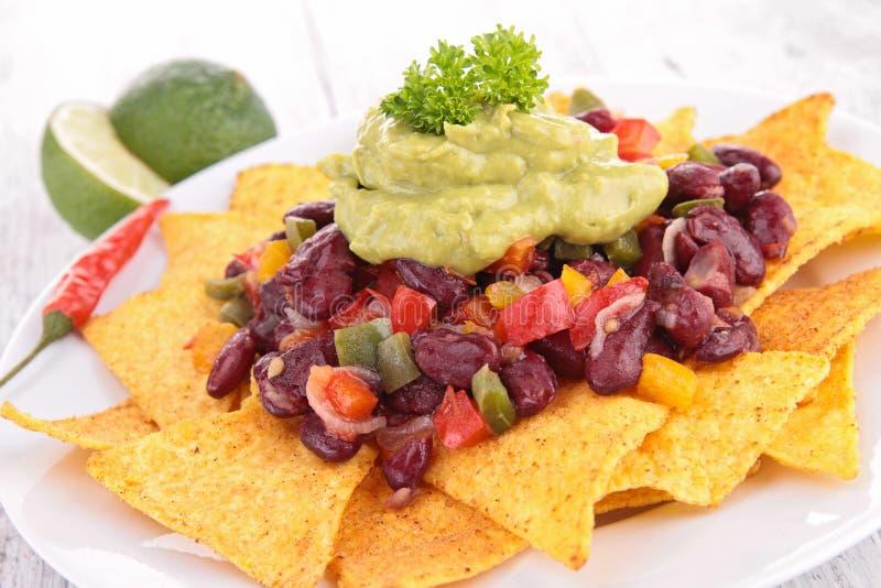 Nachos i guacamole zdjęcie stock