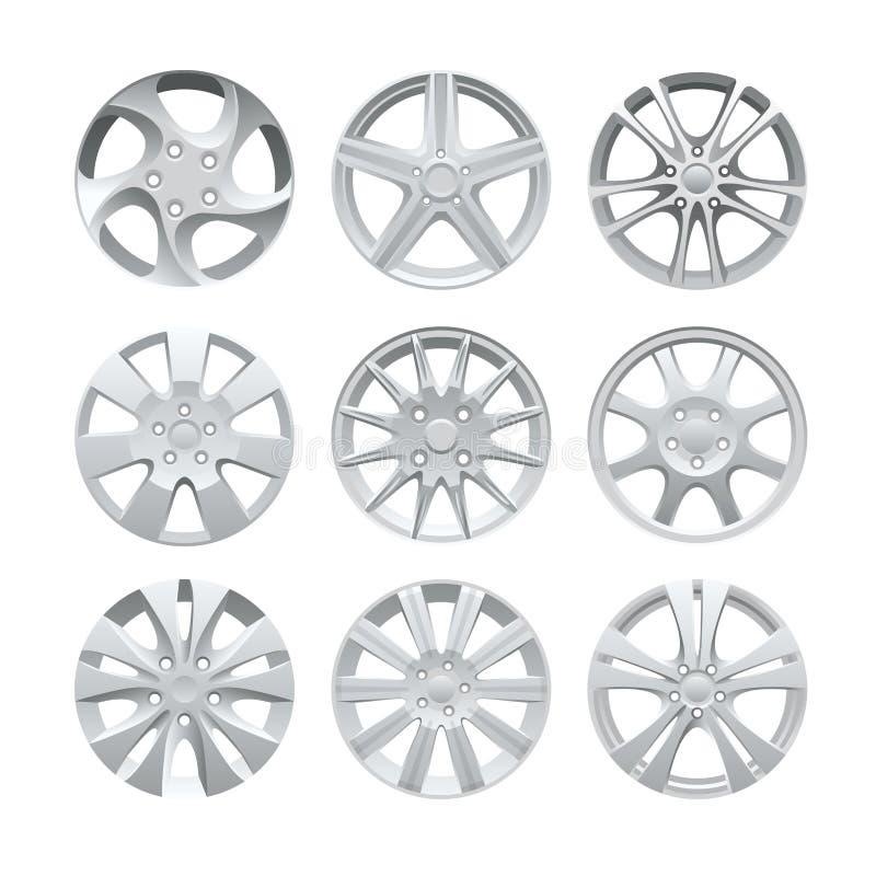 Zamyka up obręcza aliażu samochodowy koło Aluminiowy koło wektoru set Obliczający aliażu obręcz dla samochodu, ślada royalty ilustracja