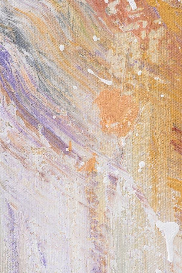 zamyka up obraz olejny z białymi splatters na purpurowej i pomarańczowej teksturze obraz royalty free