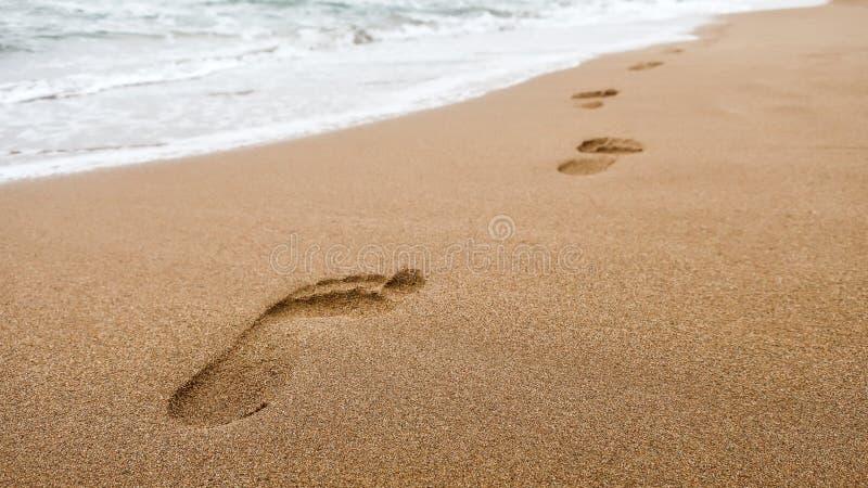 Zamyka up odciski stopy w mokrym piasku na plaży przy zmierzchem obraz stock