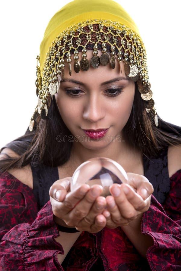 Zamyka Up Psychiczny Patrzeć w kryształową kulę obraz royalty free