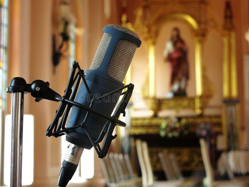 Zamyka up retro rocznika mikrofon przeciw obrazy stock