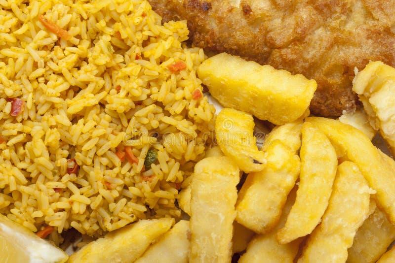 Zamyka up ryba i układy scaleni na talerzu z ryż zdjęcie stock