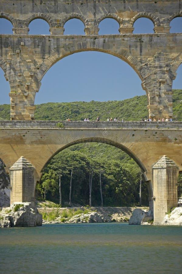 Zamyka up Rzeczny Gard du Gard i Pont, Nimes, Francja zdjęcie royalty free