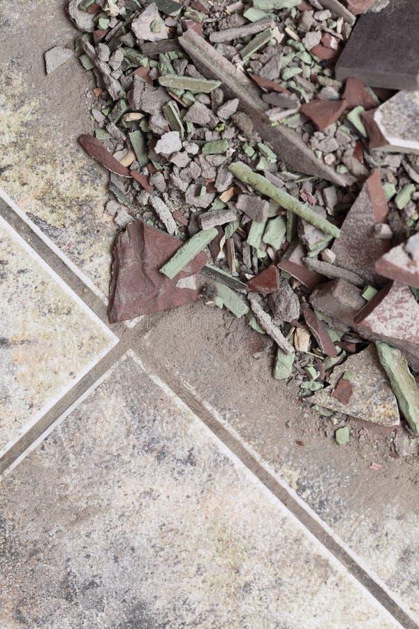 Zamyka up stary stos cegły podłogowa płytka zdjęcie stock