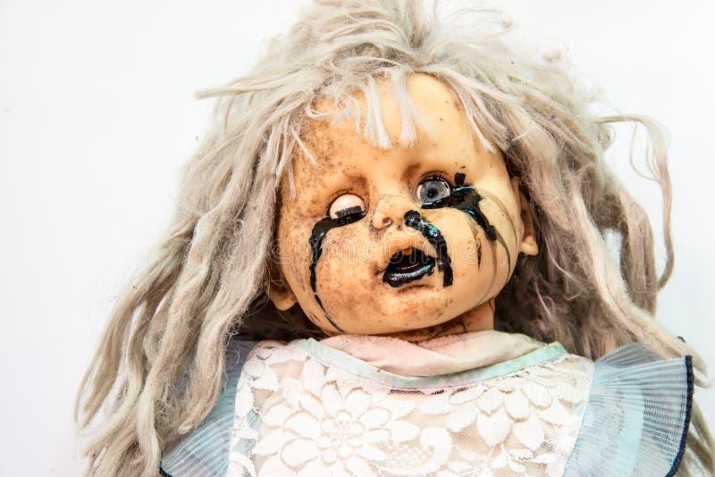 Zamyka up straszny dziecko - lala Halloween zdjęcia royalty free