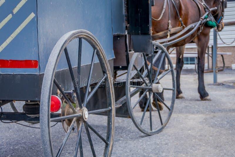Zamyka up tylny widok koło Amish powozik z noga koniem parkującym w gospodarstwie rolnym fotografia stock