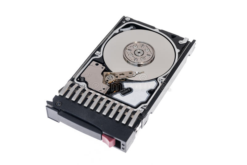 Zamyka up wśrodku 2 5 ` gorącej prymki SAS komputerowy dysk twardy HDD w tacy odizolowywającej zdjęcie royalty free