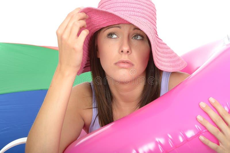 Zamyka Up Zaniepokojona Niespokojna Nieszczęśliwa młoda kobieta Na wakacje zdjęcie royalty free