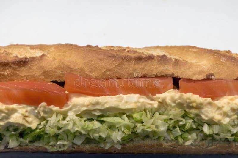 Zamyka w górę, łososiowa kanapka, sałatka i majonez, fotografia stock