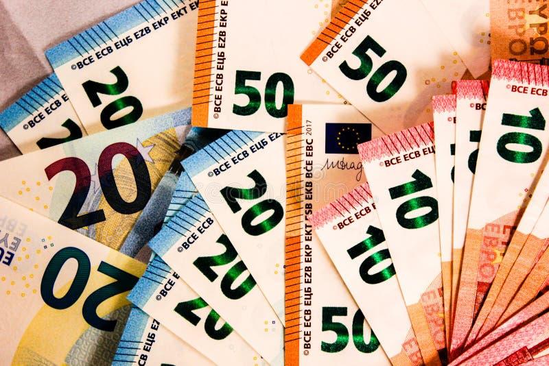 Zamyka w górę Euro notatki mieszanki fotografia stock
