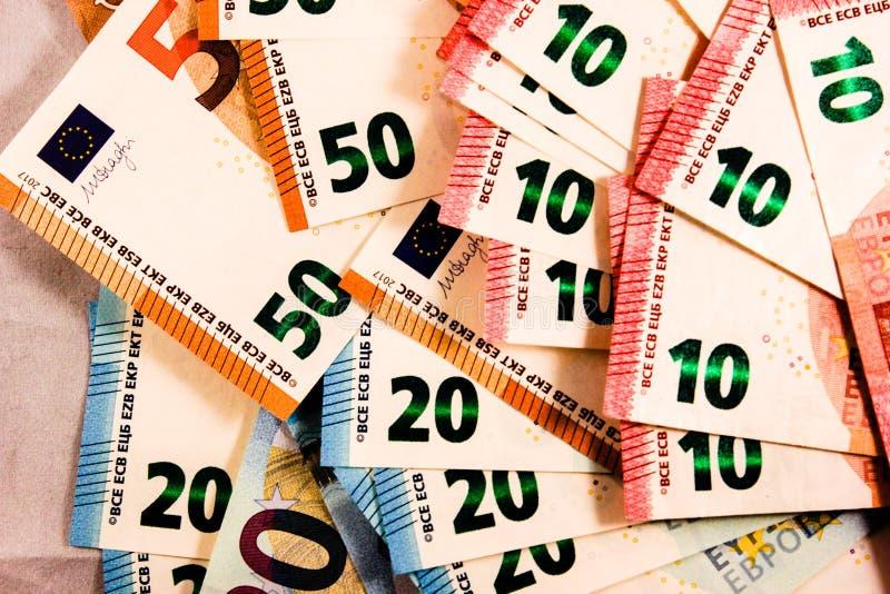 Zamyka w górę Euro notatki mieszanki zdjęcia stock