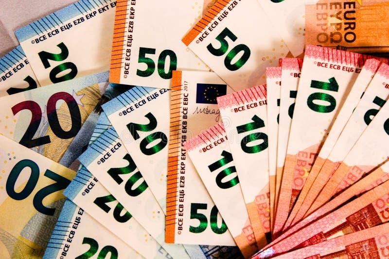 Zamyka w górę Euro notatki mieszanki obrazy stock