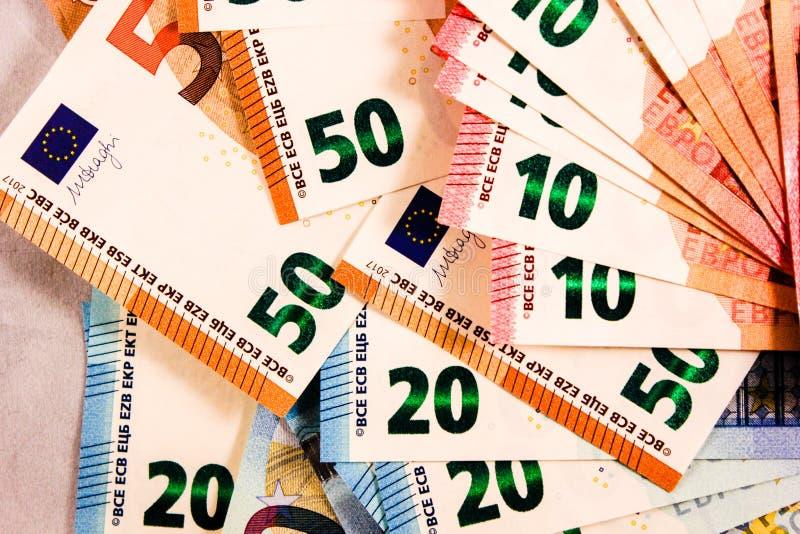 Zamyka w górę Euro notatki mieszanki obraz stock