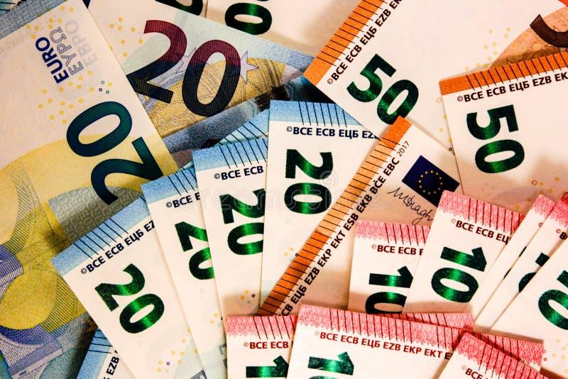 Zamyka w górę Euro notatki mieszanki fotografia royalty free