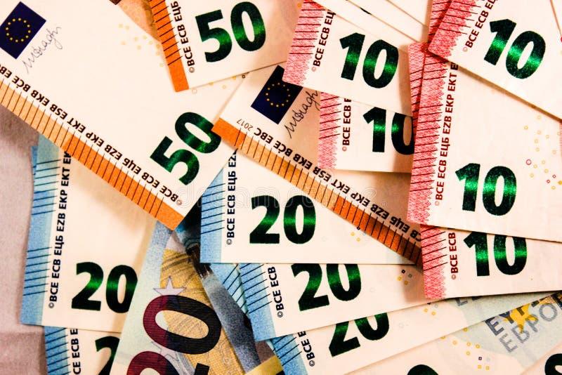 Zamyka w górę Euro notatki mieszanki zdjęcia royalty free