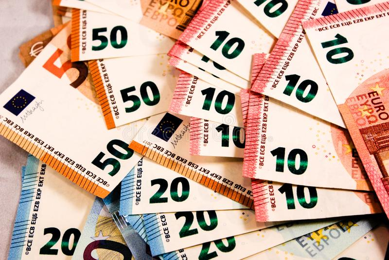 Zamyka w górę Euro notatki mieszanki zdjęcie stock