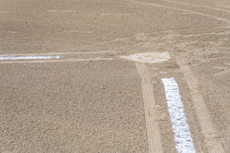 Zamyka w górę świeżo piszącej kredą linii końcowej prowadzi baza domowa, brud tylko, pusty baseballa pole na słonecznym dniu zdjęcie royalty free