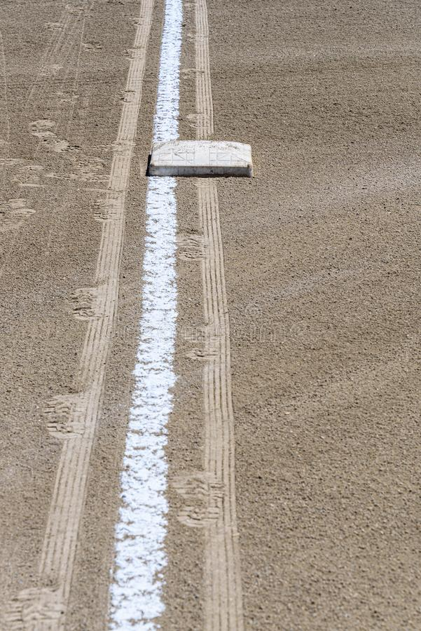 Zamyka w górę świeżo piszącej kredą linii końcowej z podstawowym talerzem, brud tylko, pusty baseballa pole na słonecznym dniu zdjęcie royalty free