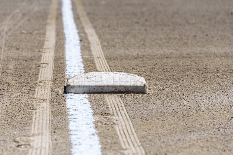 Zamyka w górę świeżo piszącej kredą linii końcowej z podstawowym talerzem, brud tylko, pusty baseballa pole na słonecznym dniu zdjęcia royalty free