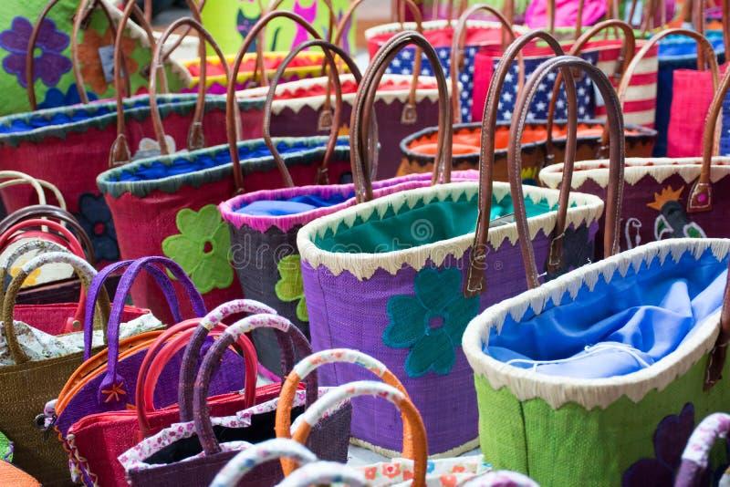 Zamyka W górę Barwionych Bawełnianych toreb zdjęcia stock